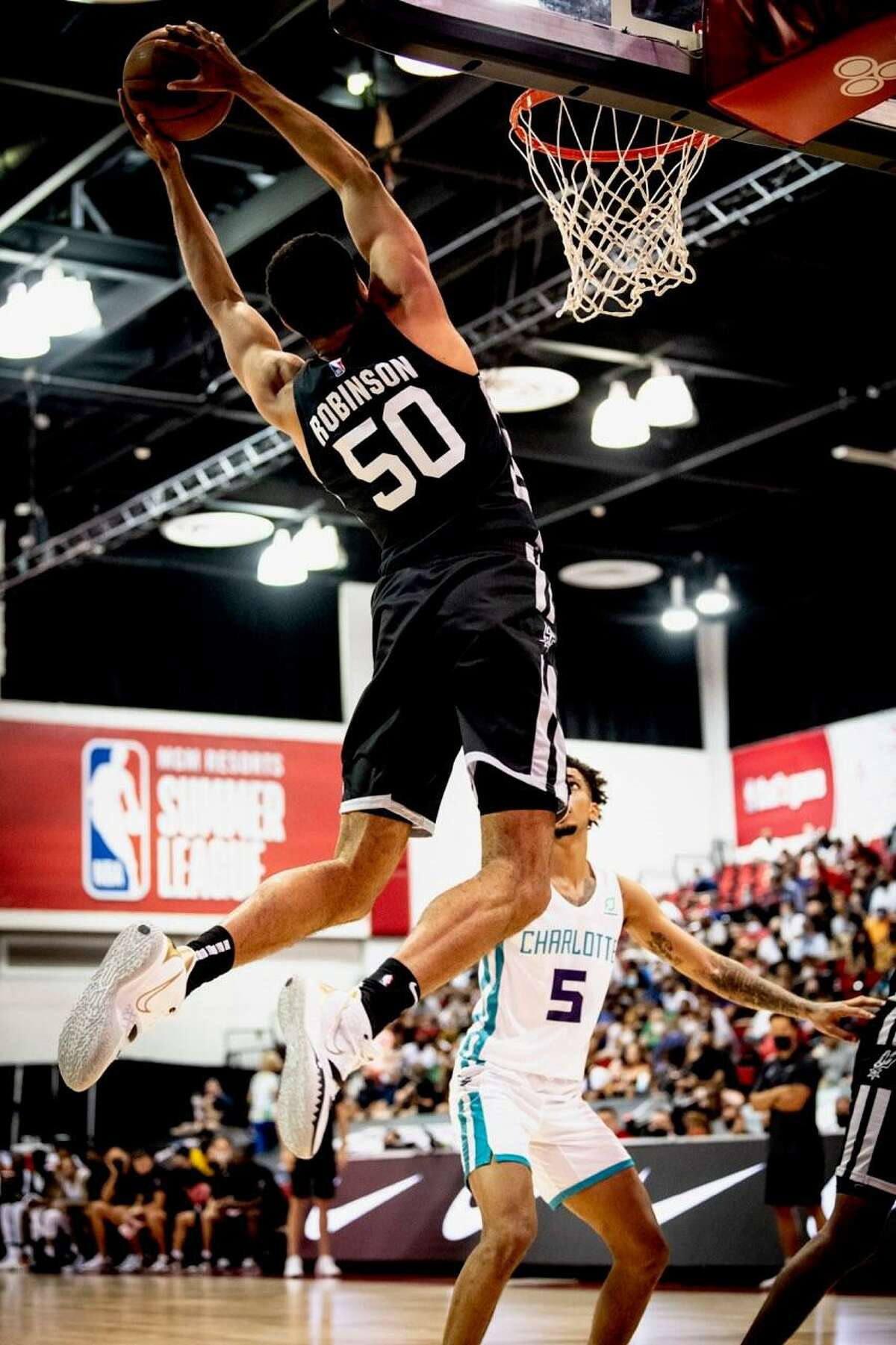 Spurs great David Robinson and his son Justin enjoyed an 'amazing' time at Summer League.