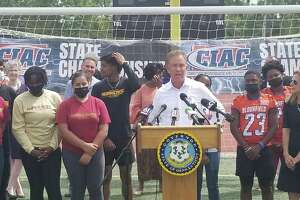 Gov. Ned Lamont at a press conference Tuesday, Aug. 17 in New Britain.