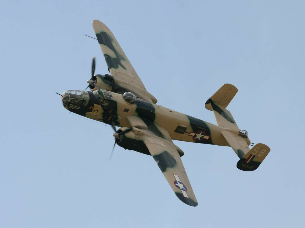 FILE - A B-25 bomber similar to this aircraft will be on display at the Greenfield airport in October.