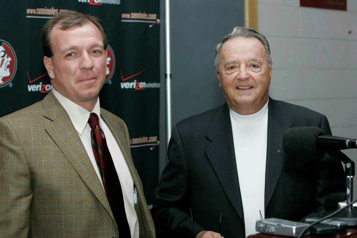 Texas A&M coach Jimbo Fisher and the late Bobby Bowden, shown together in 2007 at Florida State, had a relationship that spanned four decades.