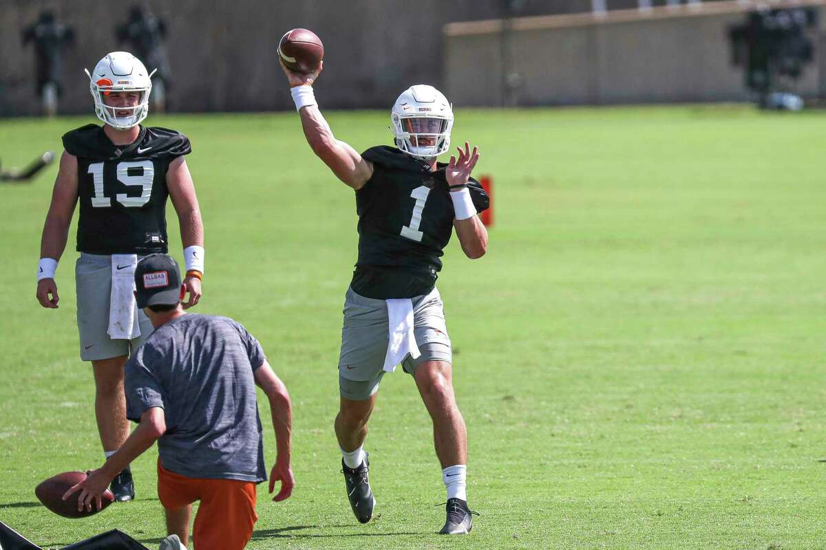 Texas quarterback Hudson Card, a redshirt freshman from Lake Travis, has the arm talent to be the Longhorns' starter, but he's in a battle with junior Casey Thompson to replace Sam Ehlinger.