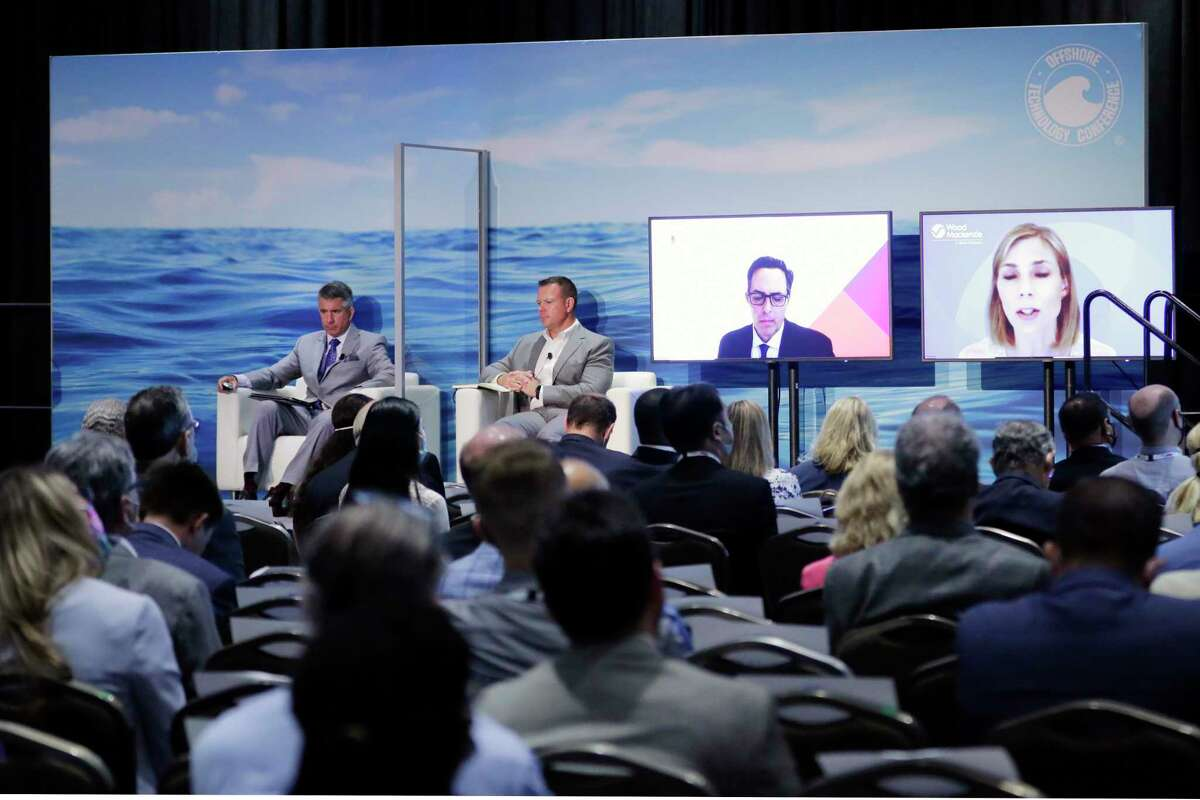 Panelists, including virtual speakers, on the dais of the general opening session during day 1 of the Offshore Technology Conference, held at the NRG Center Monday, Aug. 16, 2021 in Houston, TX.