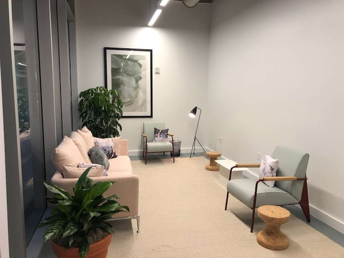 Spaces Downtown GreenStreet features seating areas for networking and relaxing at 1201 Fannin. GreenStreet is owned by Lionstone Investments and Midway.