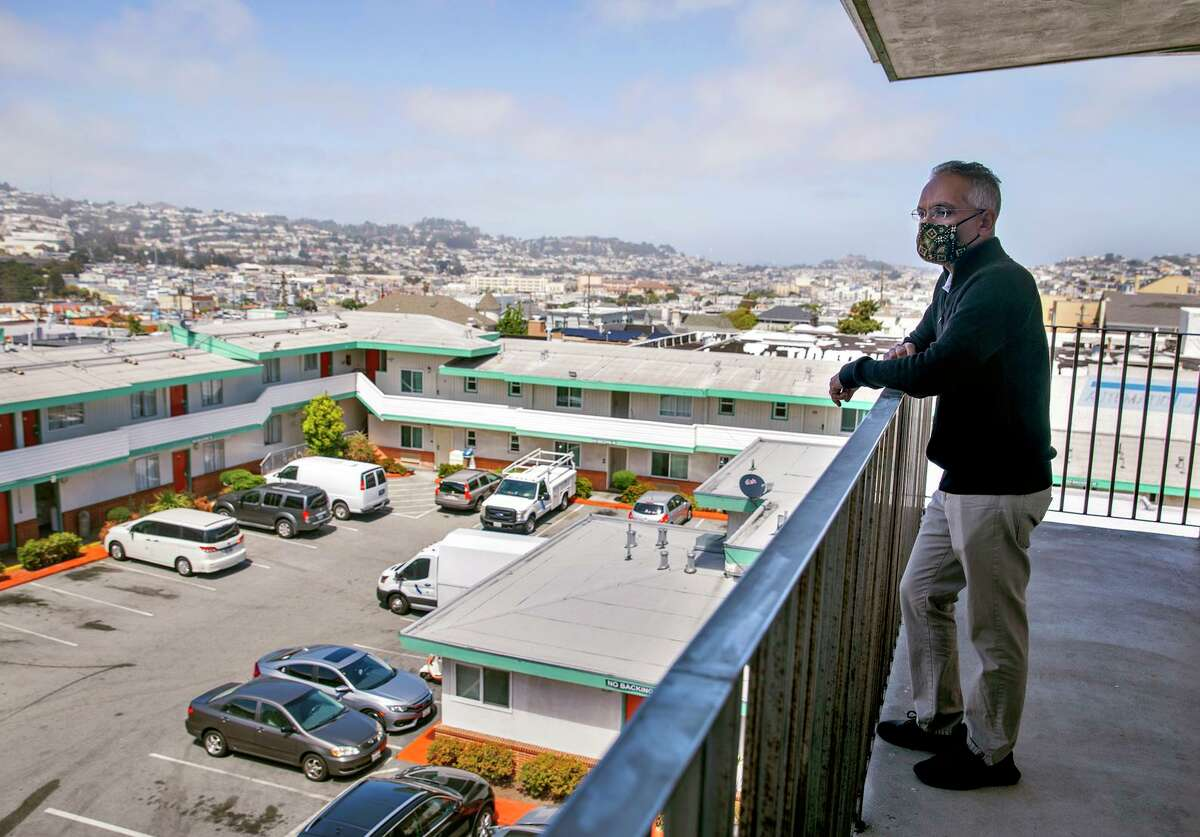 Owner Amit Motawala looks out over the Mission Inn. It's one of the locations San Francisco is looking into buying and turning into housing for homeless people.