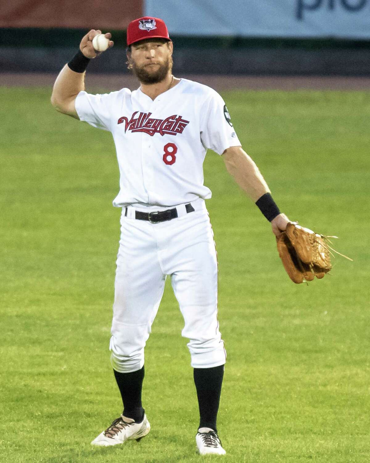 Tri-City ValleyCats centerfielder Connor Lien against the New York Boulders at the Joseph L. Bruno Stadium on the Hudson Valley Community College campus in Troy, NY, on Tuesday, Aug. 17, 2021 (Jim Franco/Special to the Times Union)