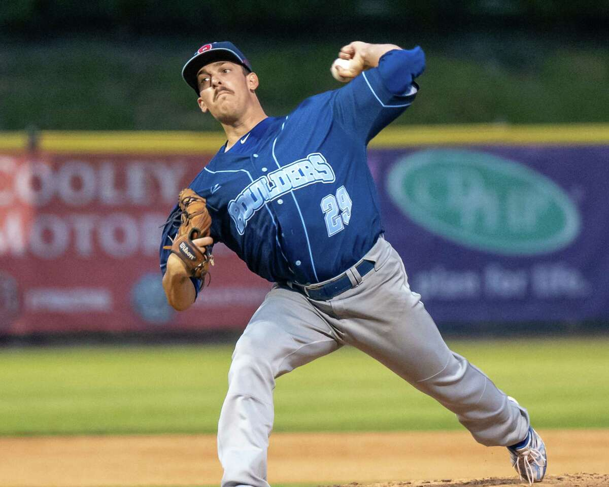 New York Boulders starting pitcher Danny Wirchansky works against the Tri-City ValleyCats at the Joseph L. Bruno Stadium on the Hudson Valley Community College campus in Troy, NY, on Tuesday, Aug. 17, 2021 (Jim Franco/Special to the Times Union)