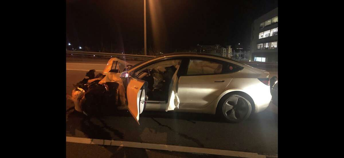 This Tesla was on autopilot when it struck two vehicles, including a police cruiser, in December 2019 in Norwalk, according to Connecticut State Police.