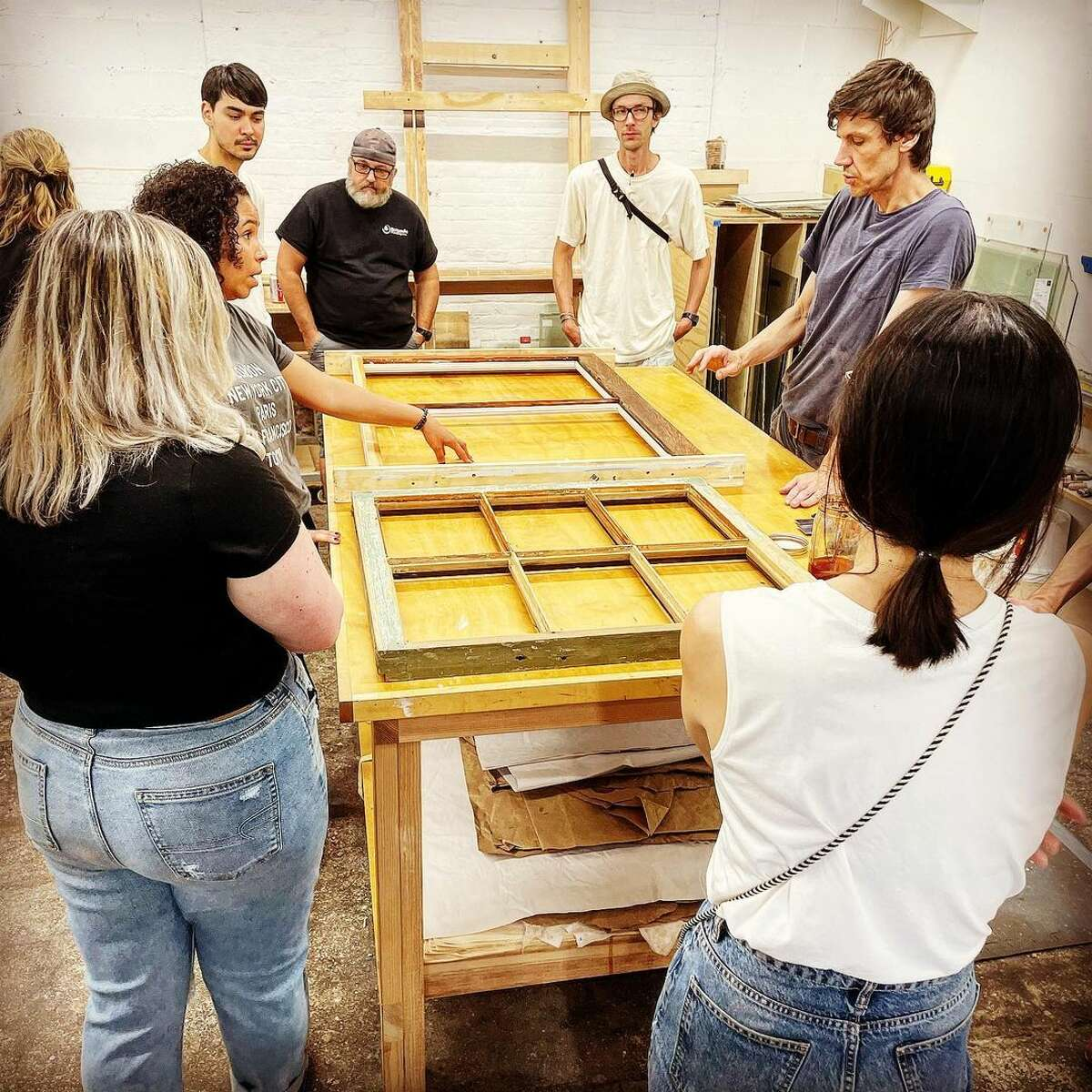 Architectural salvage shop Hudson Valley House Parts in Newburgh hosts various preservation workshops, including this one on how to restore old windows.