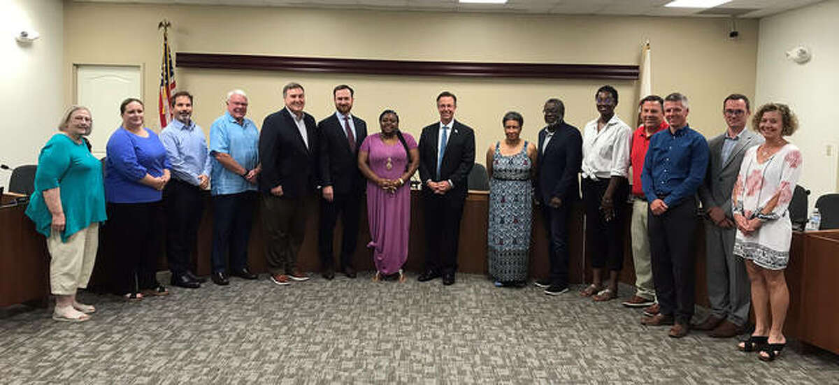 Members of the new Human Relations Committee joined with Edwardsville City Council members for a group photo in July.