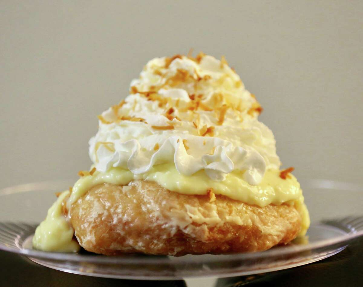After the zeppole, cotton candy and kettle corn, save room for a coconut cream doughnut from new vendor Peachy's Baking Co. It's like a coconut cream pie on a giant glazed doughnut.
