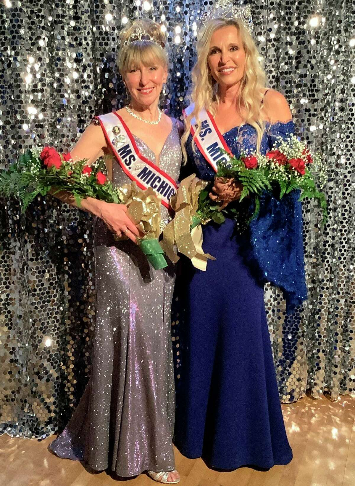 Ms. Senior Michigan 2021, Beth Grothe (right) poses with Ms. Senior Michigan 2019, Cathy Roe, following the announcement of the winner of the pageant. The contest was cancelled in 2020 due to the COVID-19 pandemic. (Photo courtesy of Cathy Roe and Beth Grothe)