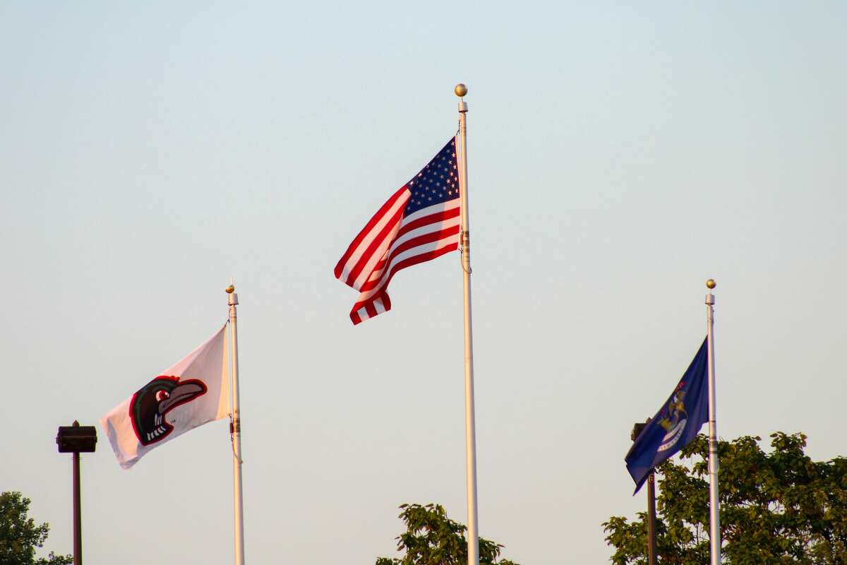The American flag flies at Dow Diamond on Aug. 17, 2021 (Austin Chastain/austin.chastain@hearstnp.com)