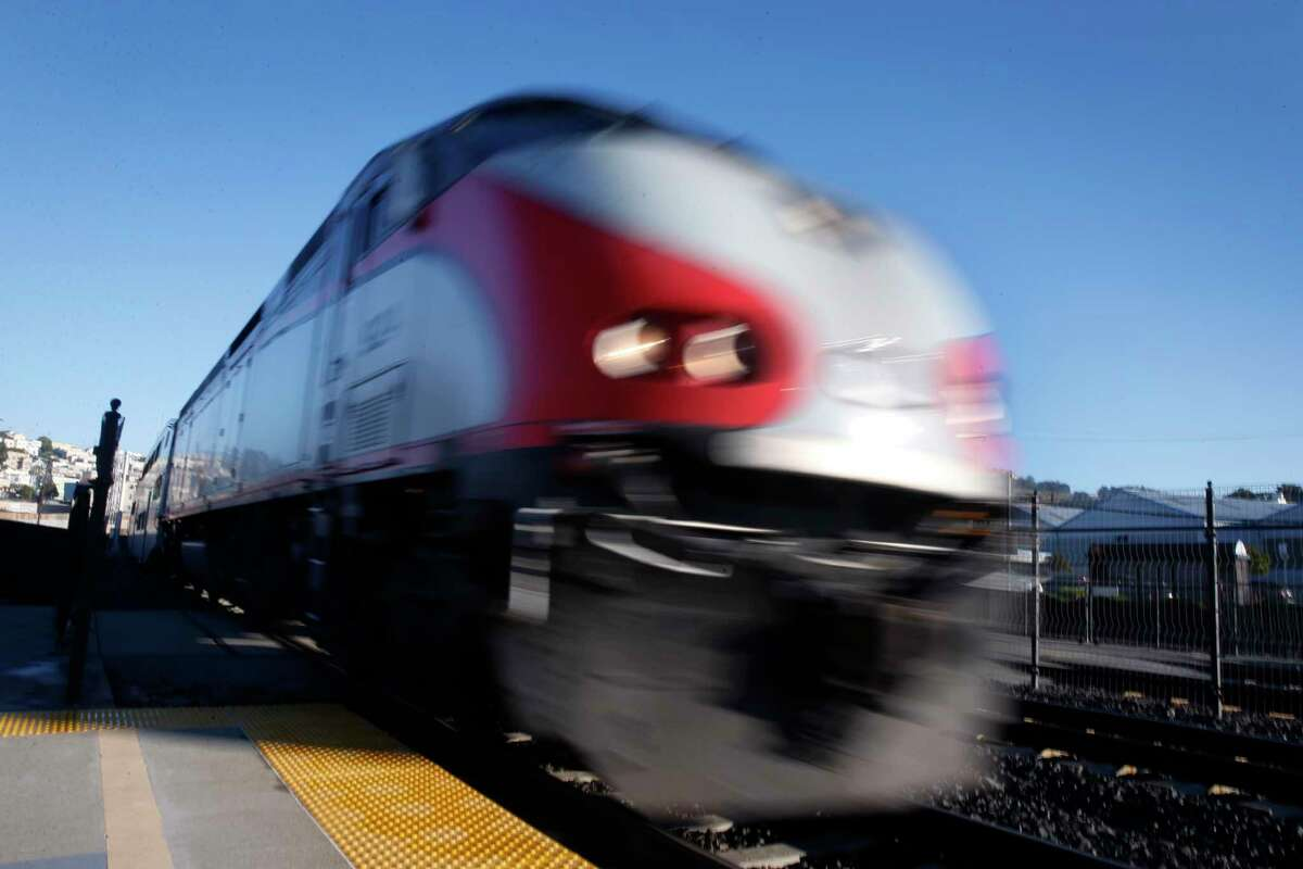 This file photograph shows a southbound train arriving at the Bayshore Caltrain station in Brisbane, Calif. on Friday, Jan. 13, 2017.