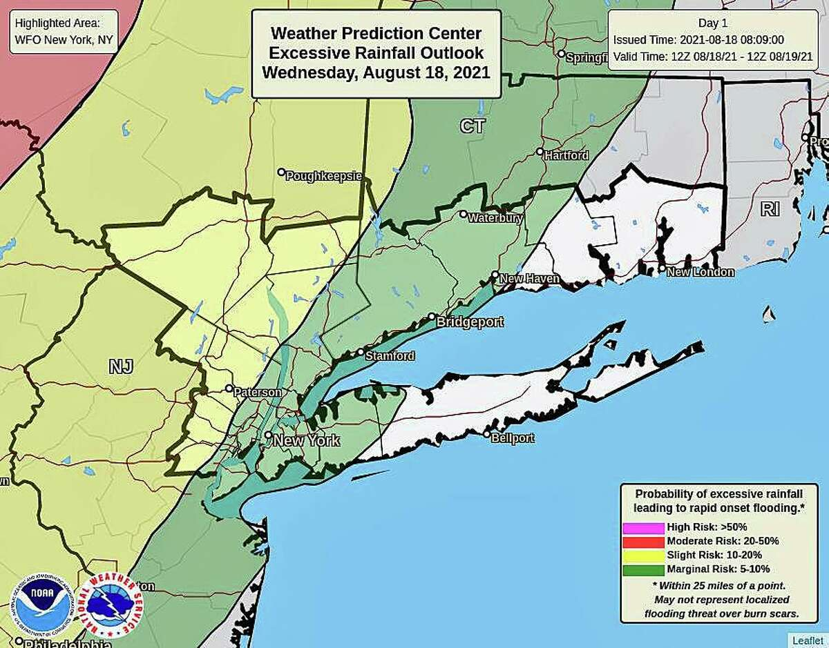 """The western half of Connecticut is at marginal risk - 5 to 10 percent - for what the National Weather Service calls """"excessive"""" rain on Wednesday, Aug. 18, 2021."""