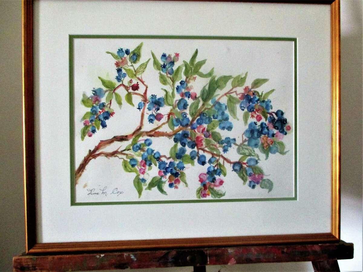 Dora Cox blueberries painting