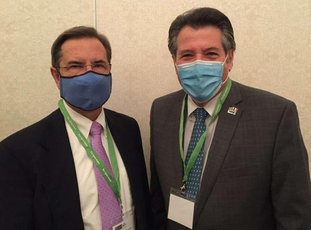 Ambassador of Mexico to the U.S. Esteban Moctezuma Barragán, and Laredo Mayor Pete Saenz are pictured at the North American Development Bank's Border Environmental Forum XXV in San Antonio.