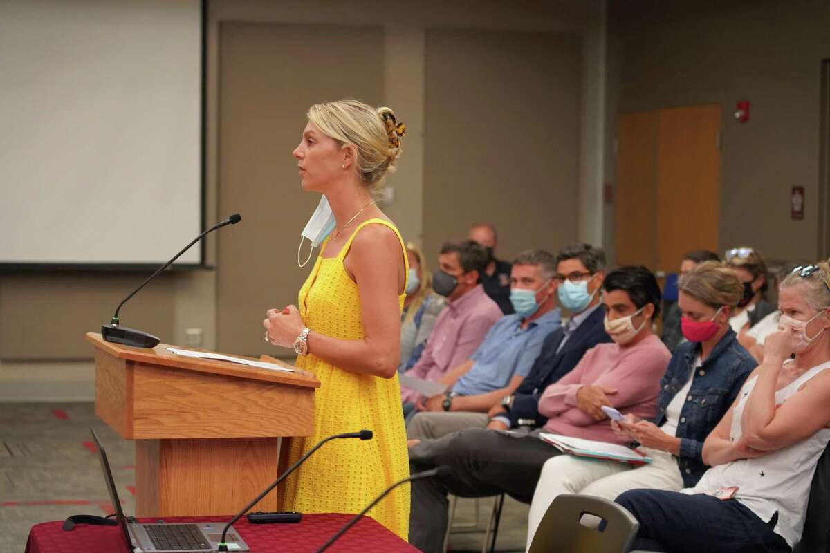 Amanda Morgan, whose children do not currently attend the district's schools, continued speaking out against mask wearing after the two-minute bell went off at a New Canaan Board of Education meeting on Aug. 16.