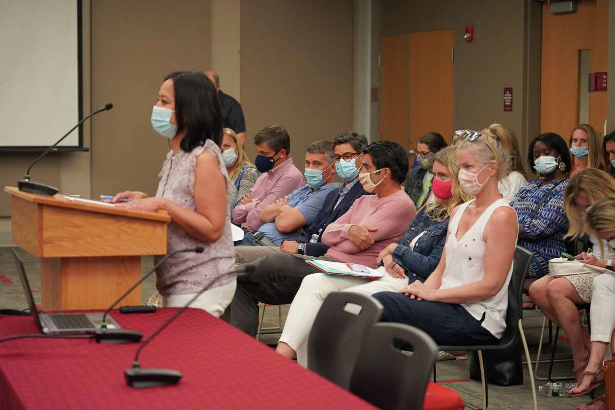Janet Fonss spoke in favor of mask wearing in the schools at a New Canaan Board of Education meeting on Aug. 16.