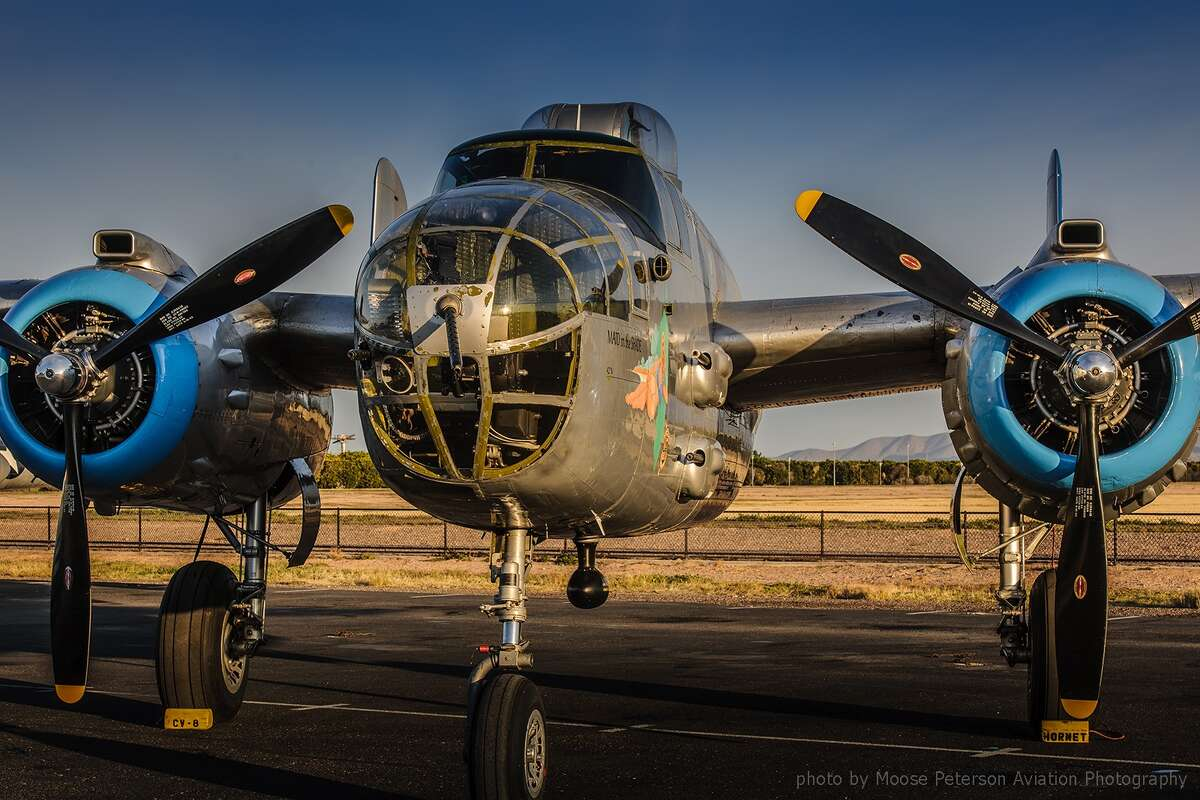 FILE - The Mitchell B-25 WWII-era bomber arrives in Springfield Aug. 19.