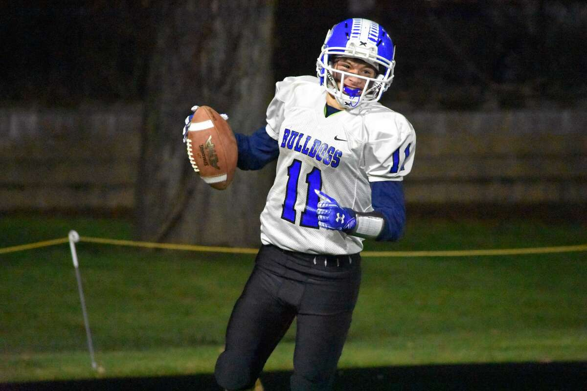 Stafford's Logan Briggs is all smiles after his second touchdown catch at Dillon Stadium, Hartford on Friday Nov. 22, 2019.