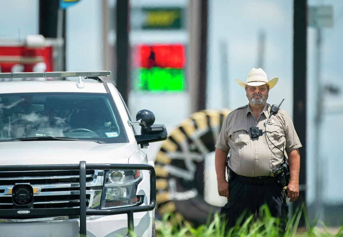 Riesel Police Chief Danny Krumnow stands along Highway 6 where the speed limit drops going through the city, Thursday, July 1, 2021.