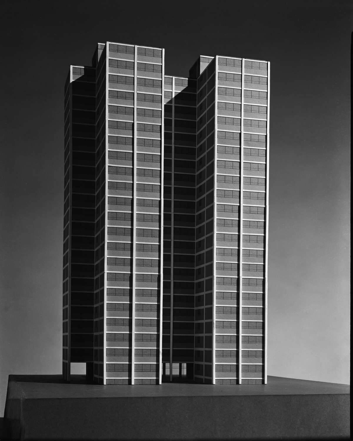 View of architectural model of Promontory Apartments building, showing rear elevation, Chicago, IL, 1946. (Photo by Hedrich Blessing Collection/Chicago History Museum/Getty Images)