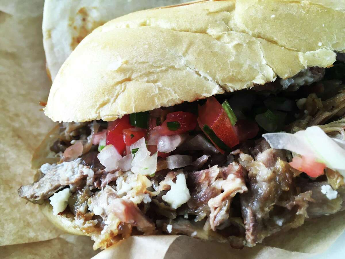 The torta at Los Dos Gordos made with rib meat.