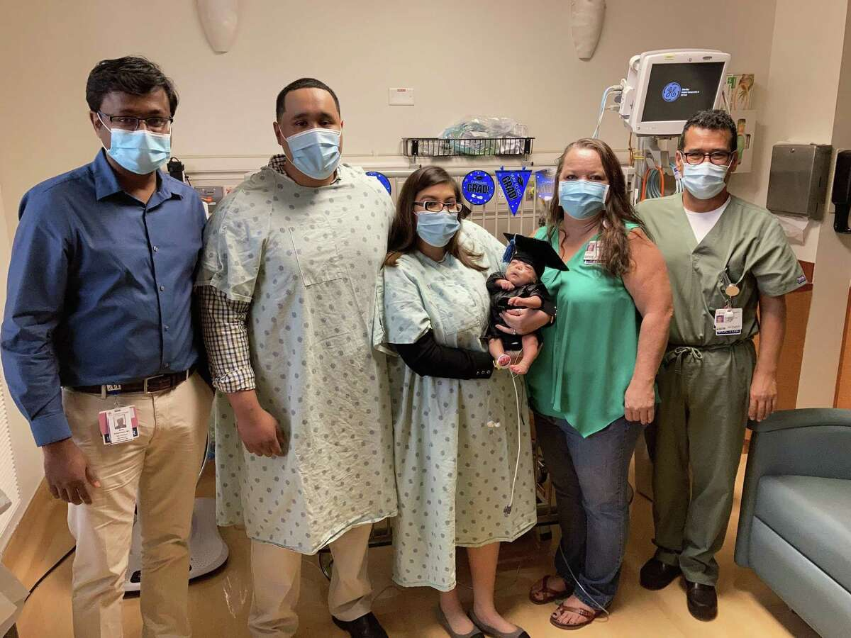 Samuel Gonzalez, born March 25, 2021, is ready to go home from the Houston Methodist Willowbrook Hospital after more than 140 days in the NICU. From left to right: Dr. Athis Arunachalam, Neonatal Medical Director; Adalberto Gonzalez, Samuel's father; Susana Valencia, Samuel's mother; Cyndi Shelby, RN; Dr. John Dogan, delivering OB.
