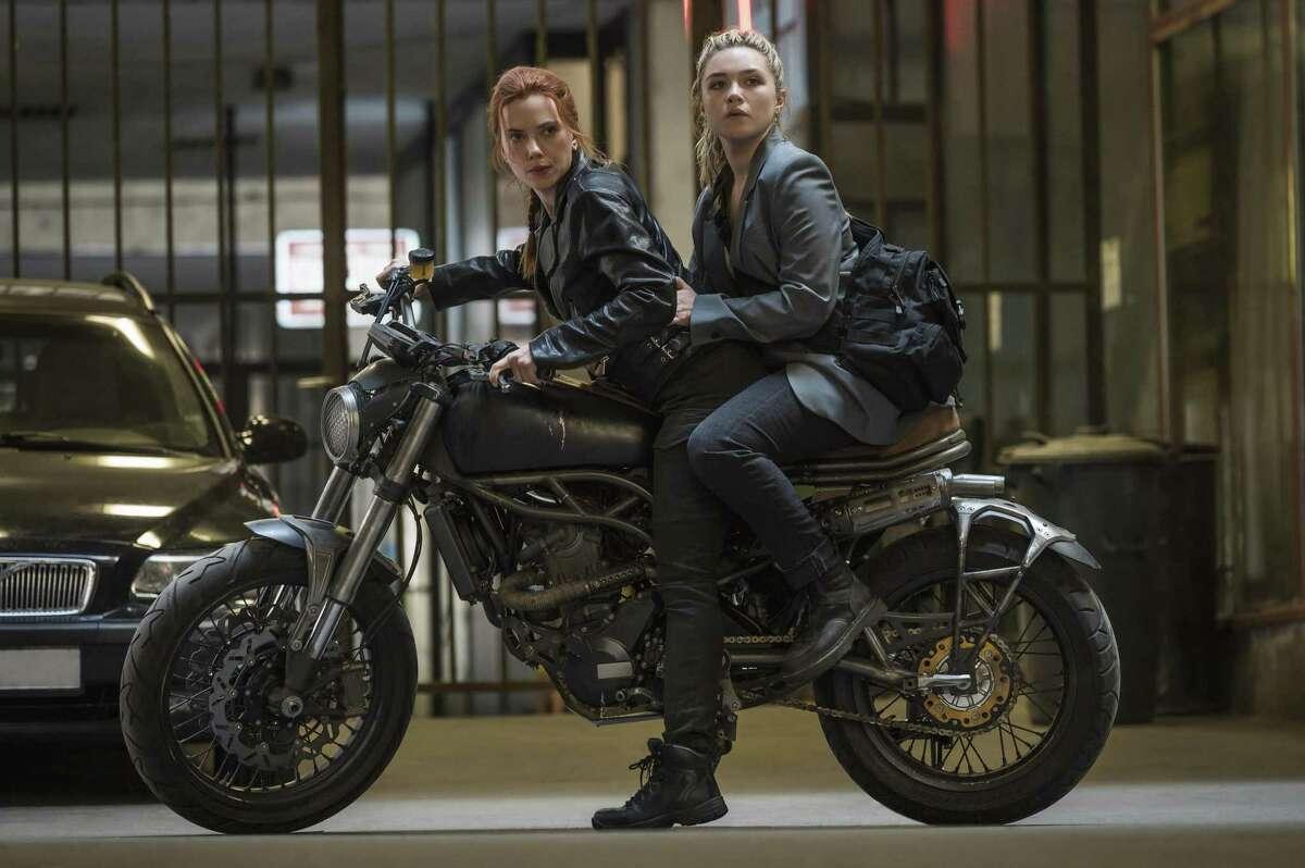 "Scarlett Johansson and Florence Pugh star in ""Black Widow."""