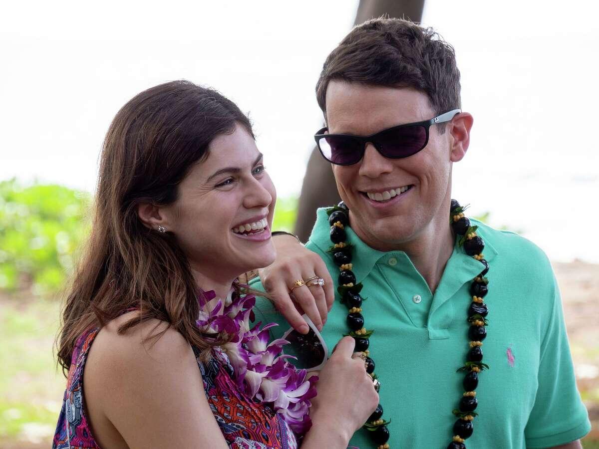 "Rachel and Shane (Alexandra Daddario and Jake Lacy) are honeymooning at ""The White Lotus."""