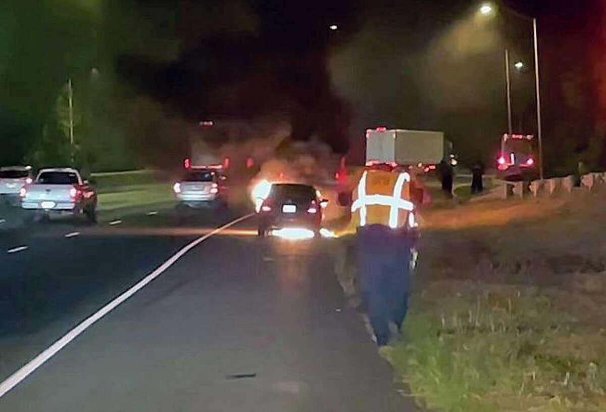 Firefighters responded to Interstate 95 near Exit 23 in Fairfield, Conn., on Tuesday, Aug. 17, 2021, for a vehicle fire.