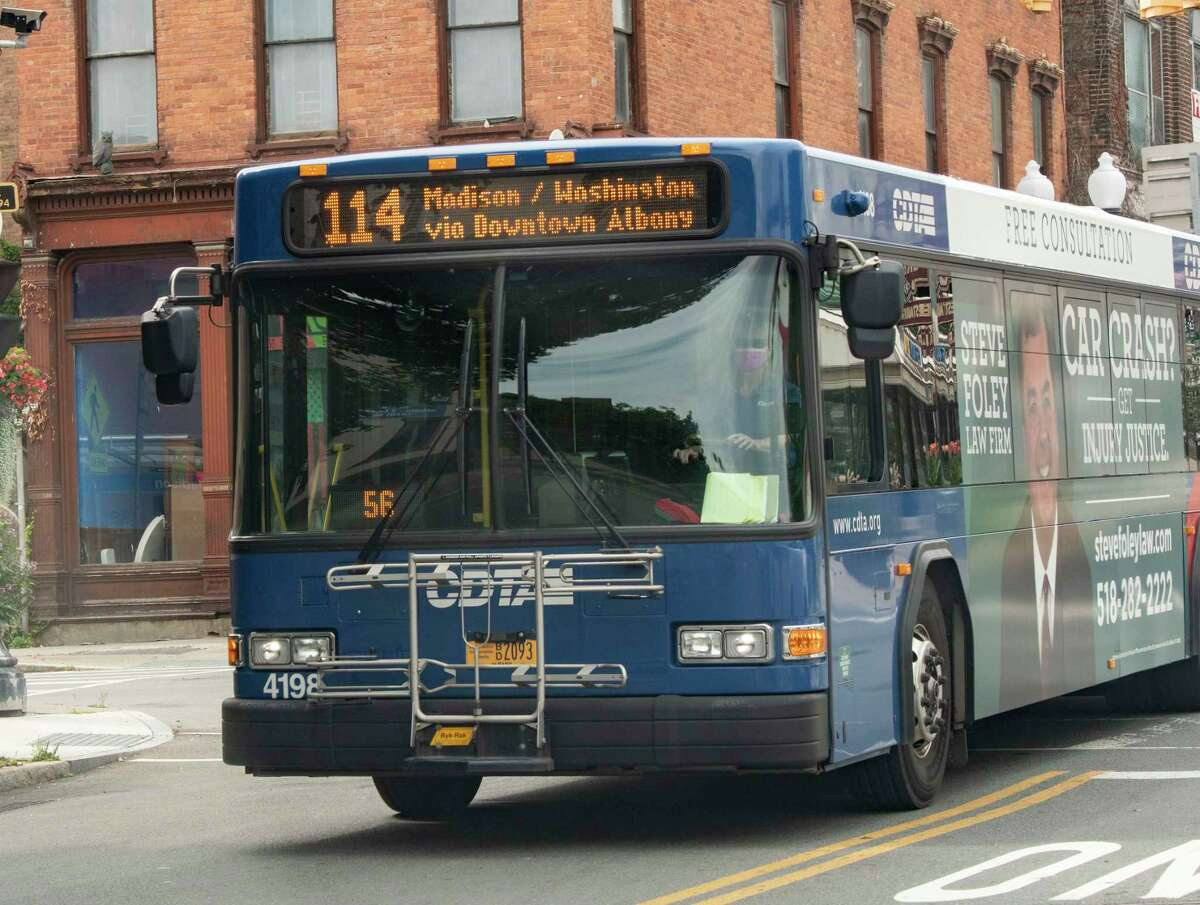 A CDTA bus is seen coming down Madison Ave. on Wednesday, Aug. 18, 2021 in Albany, N.Y.