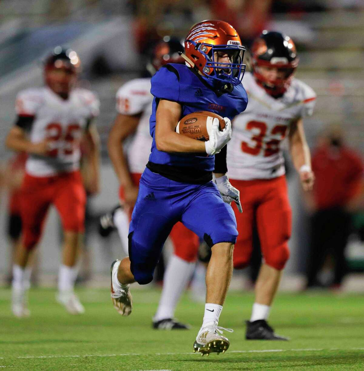 Grand Oaks running back Sean Zver (5) is expected to fill the void at tailback for the Grizzlies following Micah Cooper's graduation.