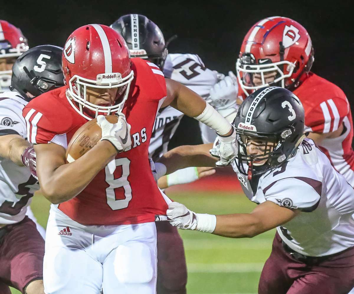 Torrington's Sean Clinkscales is one of the top players for Torrington this season. Clinkscales makes a tackle against Derby on Friday, Septermber 20, 2019.