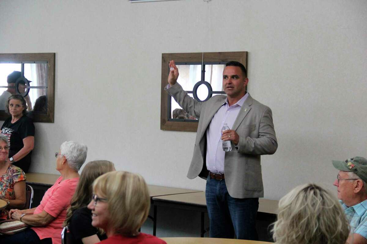 Gubernatorial candidate Garrett Soldano speaks during his appearance at the Gathering Place on Tuesday. Soldano is seeking the Republican party nomination for governor for the 2022 election. (Robert Creenan/Huron Daily Tribune)