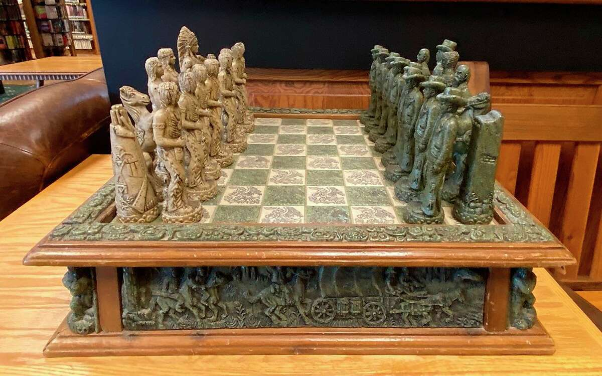 This ornate chess set sits in the computer room of the Bad Axe District Library. (Mark Birdsall/Huron Daily Tribune)