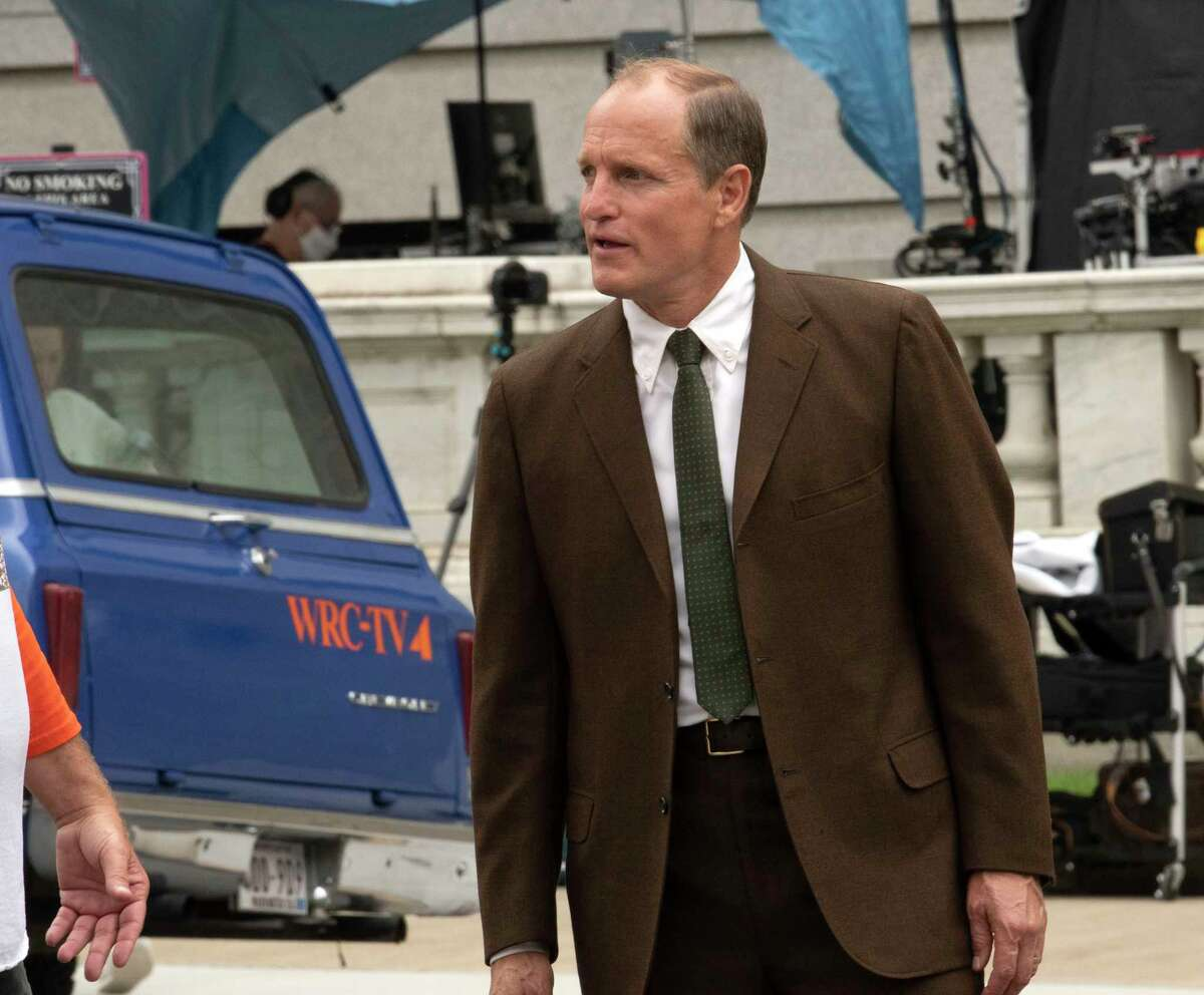 Actor Woody Harrelson is seen at the filming of HBO's White House Plumbers in front of the New York State Education Building on Wednesday, Aug. 18, 2021 in Albany, N.Y.