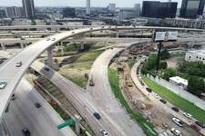 This drone shot shows construction on the ramp from U.S. 59 southbound to West Loop 610 northbound.