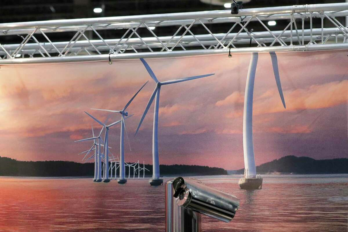 Small, obscure references to green renewable energy can be seen on some displays on the exhibition floor during the third day of the Offshore Technology Conference, held at NRG Center on Wednesday.