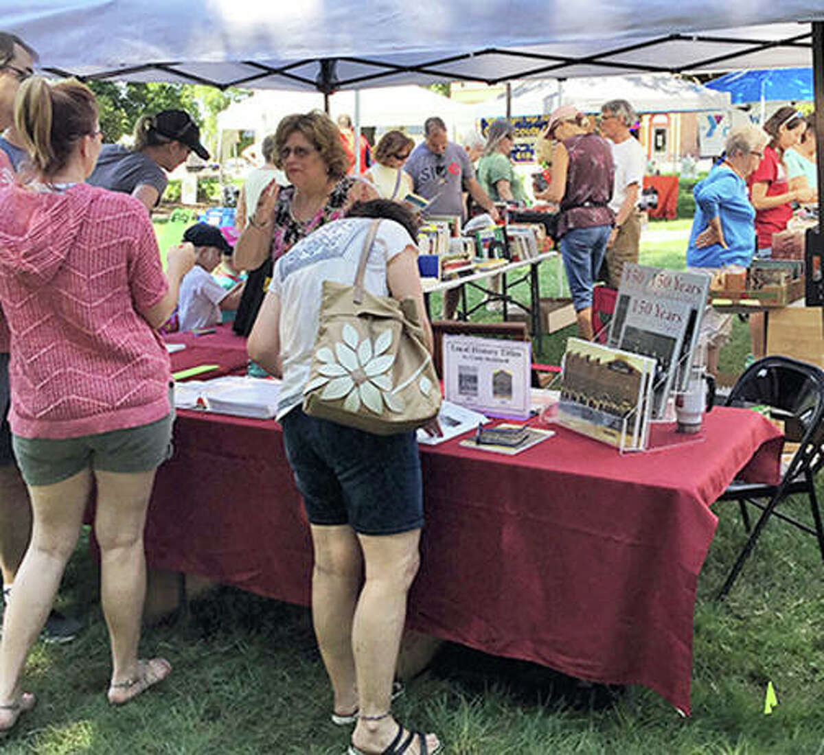 Local author and historian Cindy Reinhardt had her books for sale at the inaugural Edwardsville Book Festival in 2019. This year's event is slated for Sept. 4 at Edwardsville City Park.