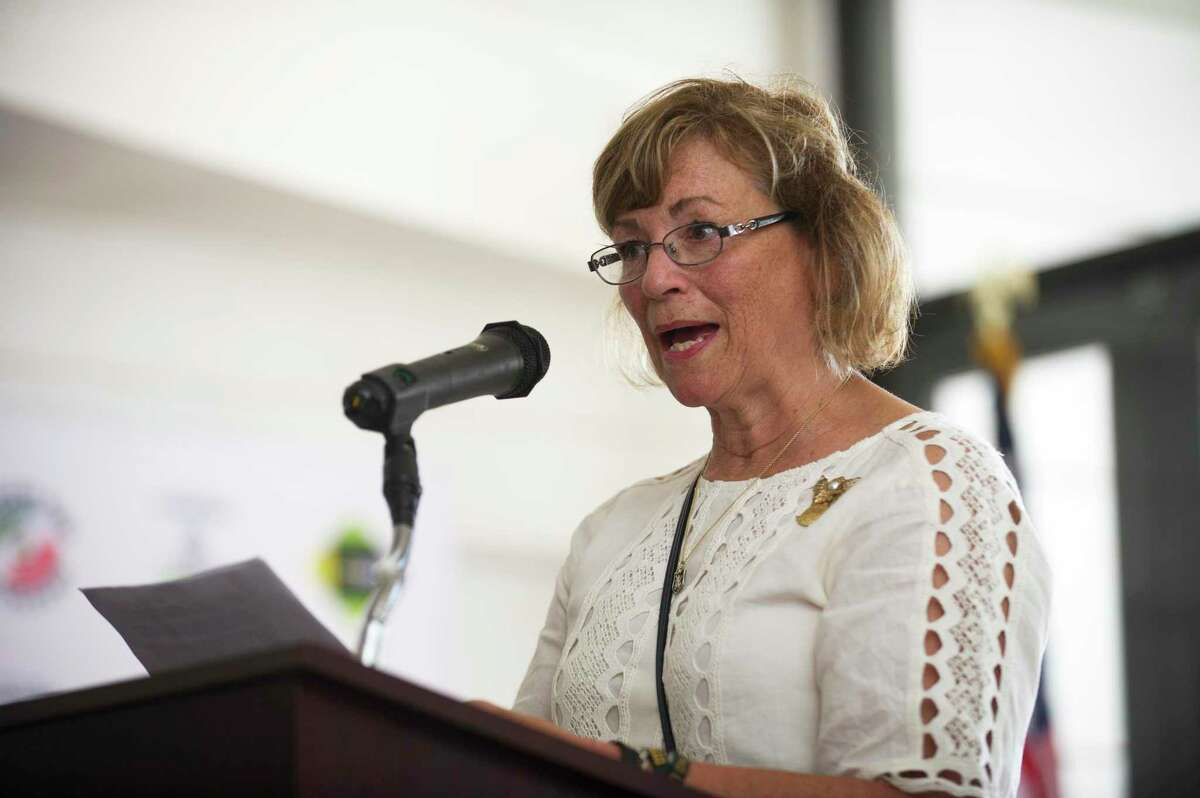 Patricia Parry, the mother of slain Navy SEAL Brian Bill, speaks during the groundbreaking ceremony at Veterans Memorial Park on Atlantic St. in downtown Stamford, Conn. on Wednesday, Sept. 5, 2018.