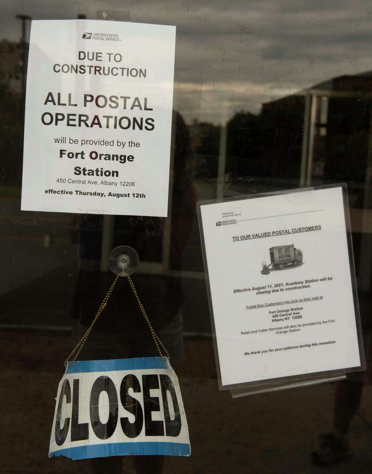 Signs are posted on the door of the closed post office at 563 New Scotland Ave. on Wednesday, Aug. 18, 2021 in Albany, N.Y.
