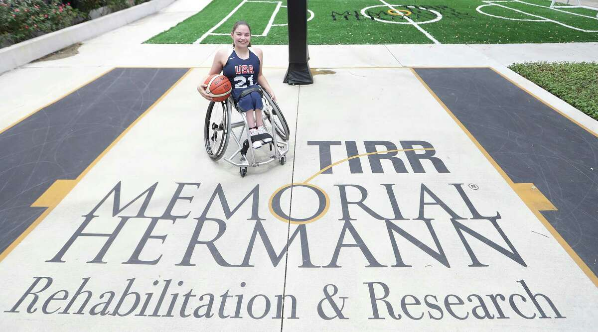 Kaitlyn Eaton, a member of this year's U.S. Paralympic women's basketball team, has been involved in TIRR Memorial Hermann's Adaptive Sports program on the Hot Wheels Basketball team since she was a teenager. Photographed at TIRR Memorial Hermann, Wednesday, August 4, 2021, in Houston.