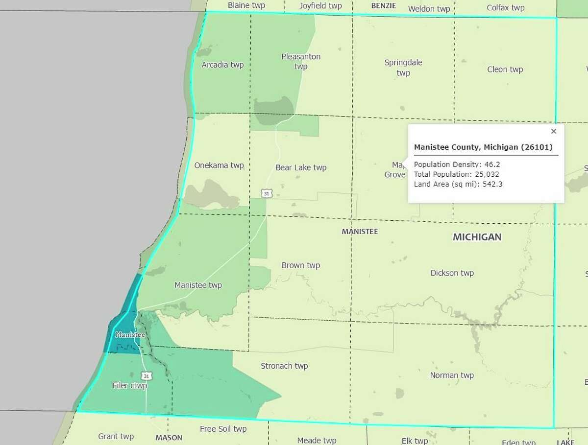 Manistee County grewby 1.2% since 2010 according to recentcensus data. (Courtesy Map/U.S. Census Bureau)