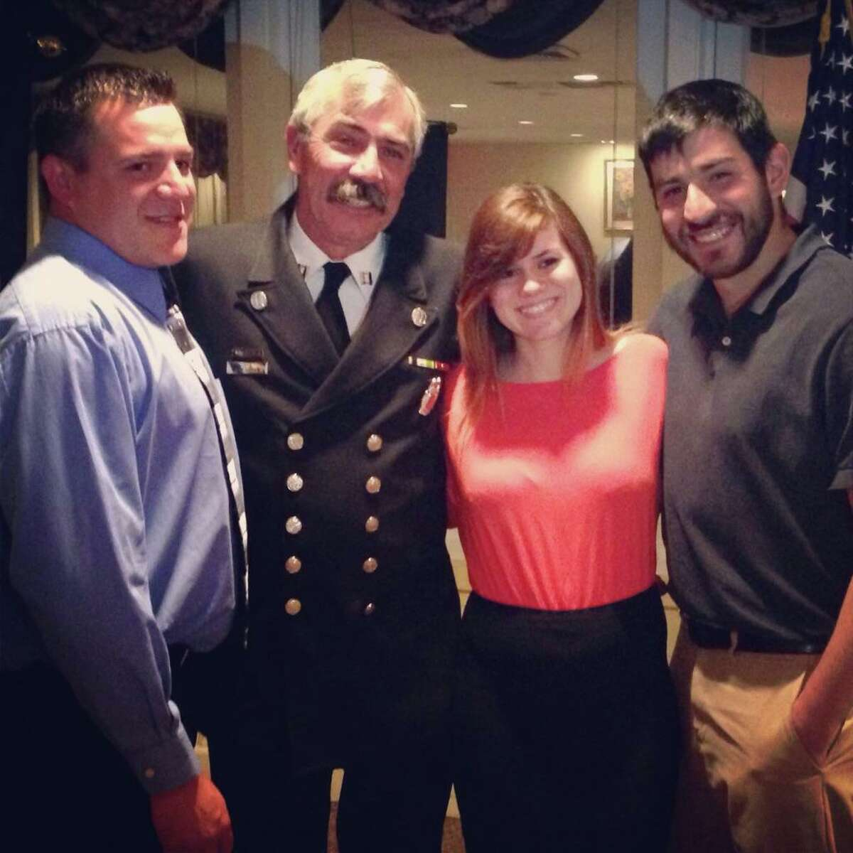 Former Danbury Fire Capt. Gary Arconti died on Aug. 8 at 67. From left to right: Matt Arconti, his son, Gary Arconti, Jennifer Arconti, his daughter, and Danny Arconti, his son.