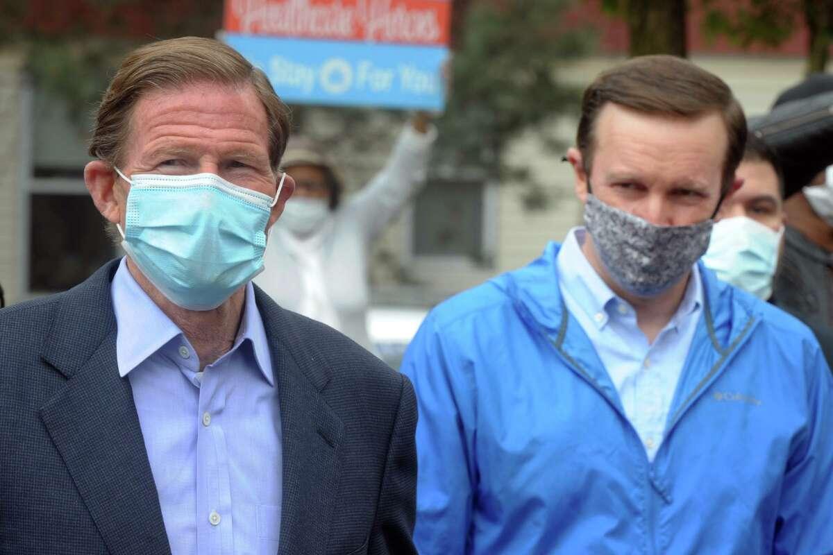 U.S. Senators Richard Blumenthal and Chris Murphy in May 2020 at Northbridge Health Care Center in Bridgeport, Conn.