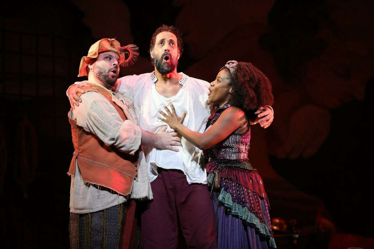 """Two HD, (High Definition), videos will be livestreaming on demand on select upcoming dates as part of the Westport Country Playhouse's selections of archives of performances previously captured live on stage. The videos are of the """"Of Mice and Men,"""" and the """"Man of La Mancha"""" performances. """"Of Mice and Men"""" is streaming from Monday, Aug. 23 through Sunday, Sept. 5, with """"Man of La Mancha"""" streaming from Monday, Sept. 13 through Sunday, Sept. 26. Pictured from the left to the right are: Actor Brian Hutchison, and Actor Mark Mineart performing in """"Of Mice and Men,"""" from the live performance of the story in 2008."""