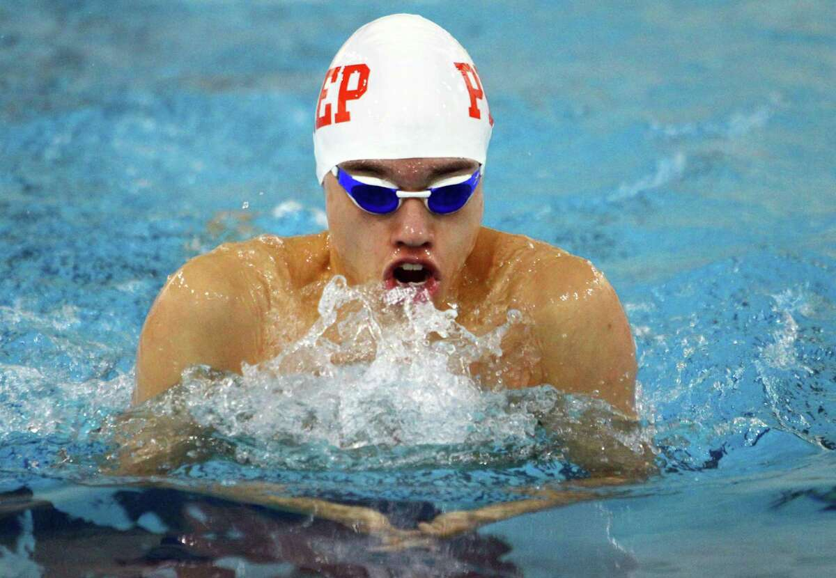 Fairfield Prep's Matthew Torres competes in the 100 meter freestyle exhibition against Branford/Guilford/East Haven at Fairfield Univertsity in Fairfield in 2019.