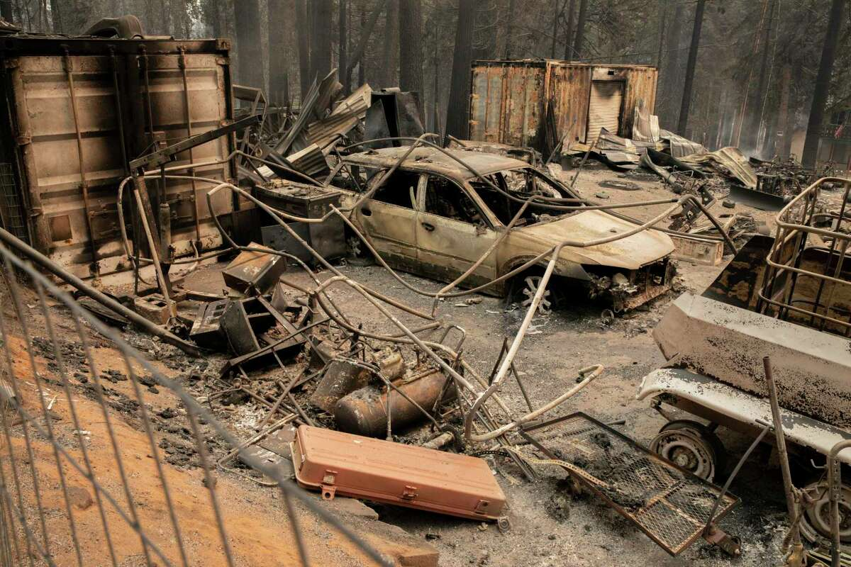 Homes along Tyler Drive near Walt Tyler Elementary School, Wednesday, Aug. 18, 2021, in Grizzly Flats, Calif. The area was destroyed in the Caldor Fire.