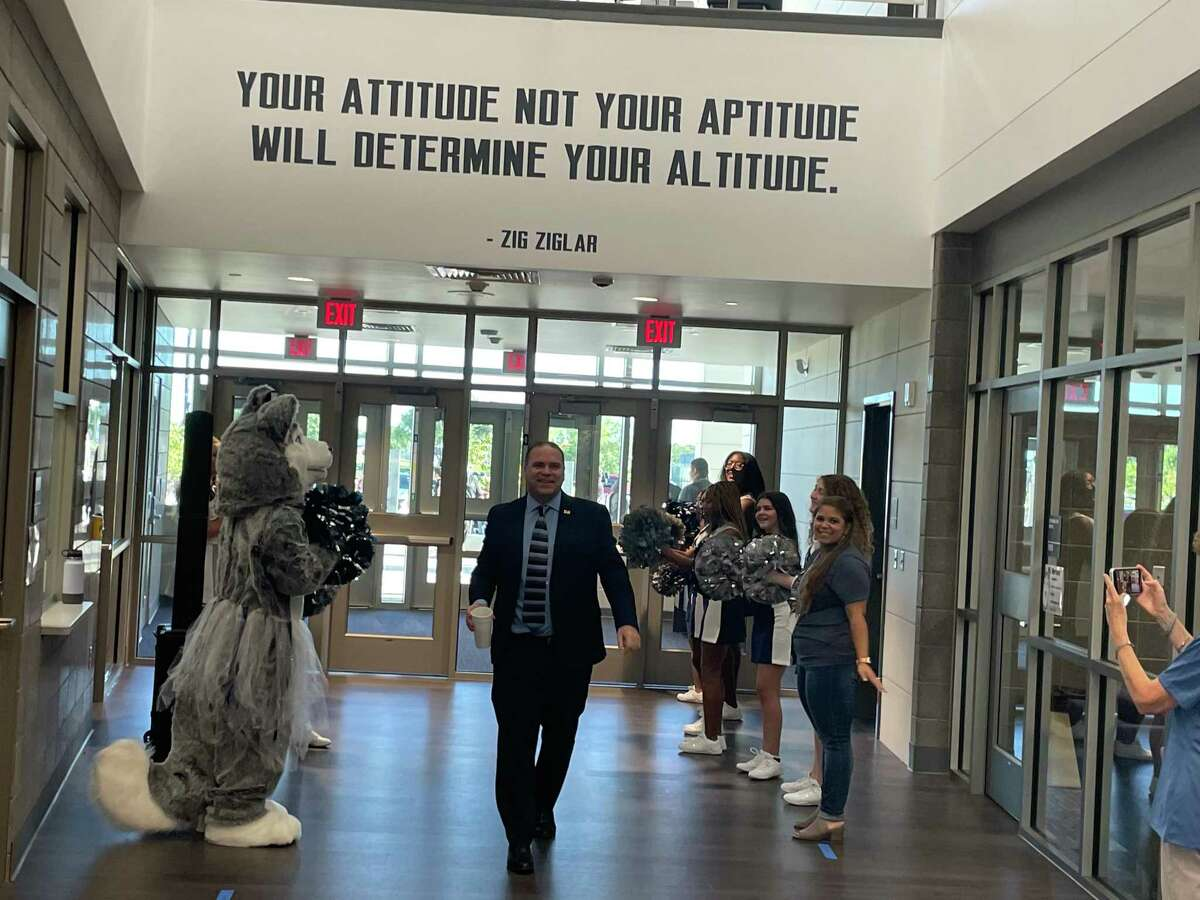 Dr. Ken Gregorski, Katy ISD superintendent, arrives at Haskett Junior High to welcome students on Wednesday, Aug. 18, 2021.